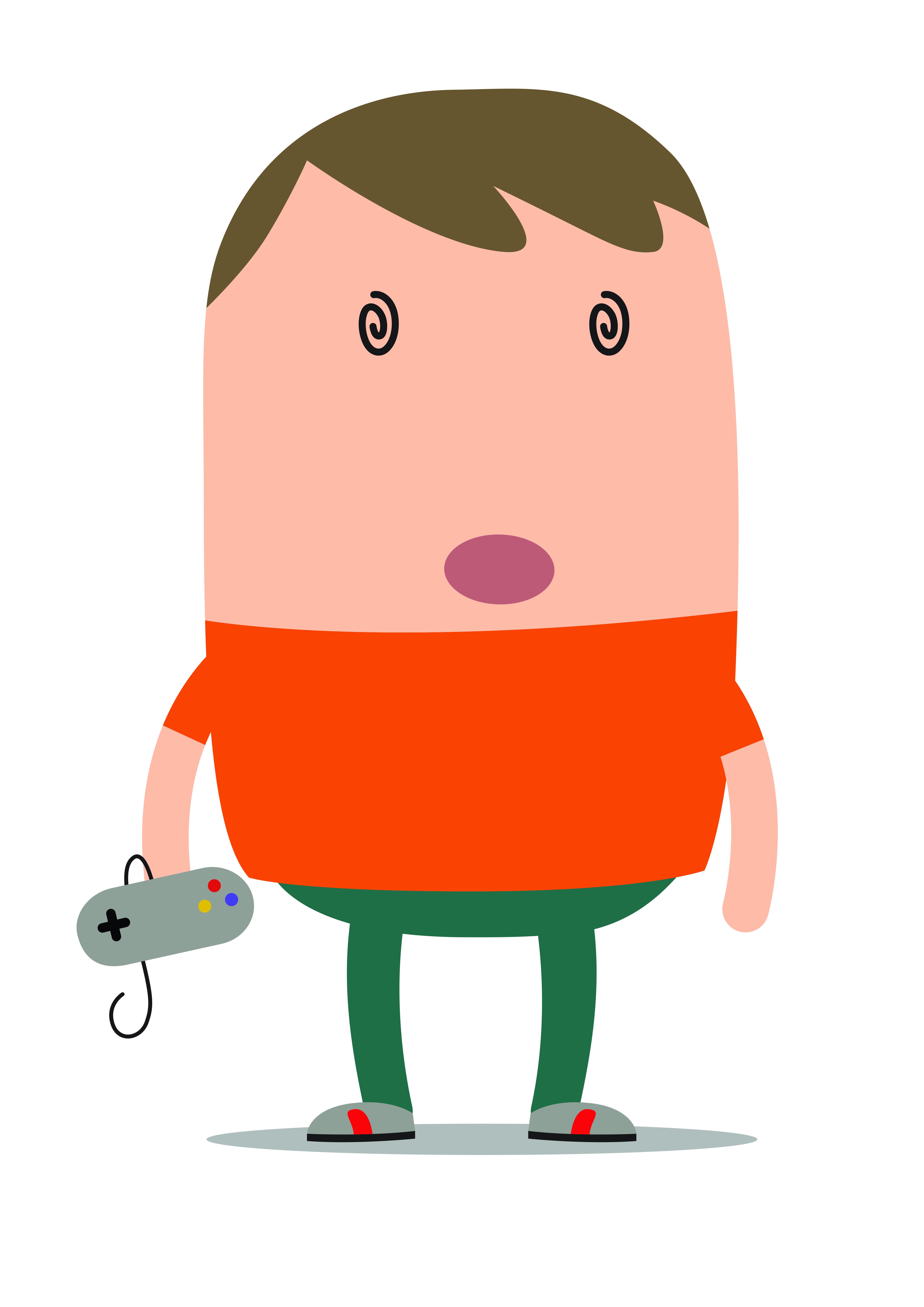 Illustratie van jongen met gameconsole