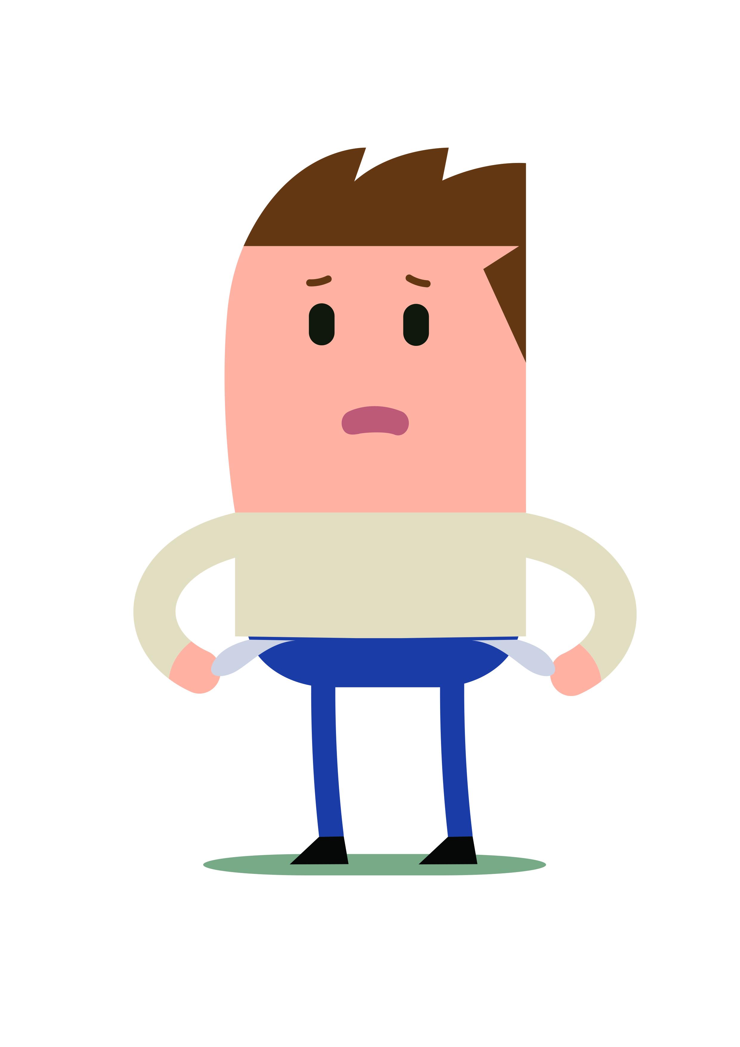 Illustratie van man met lege broekzakken