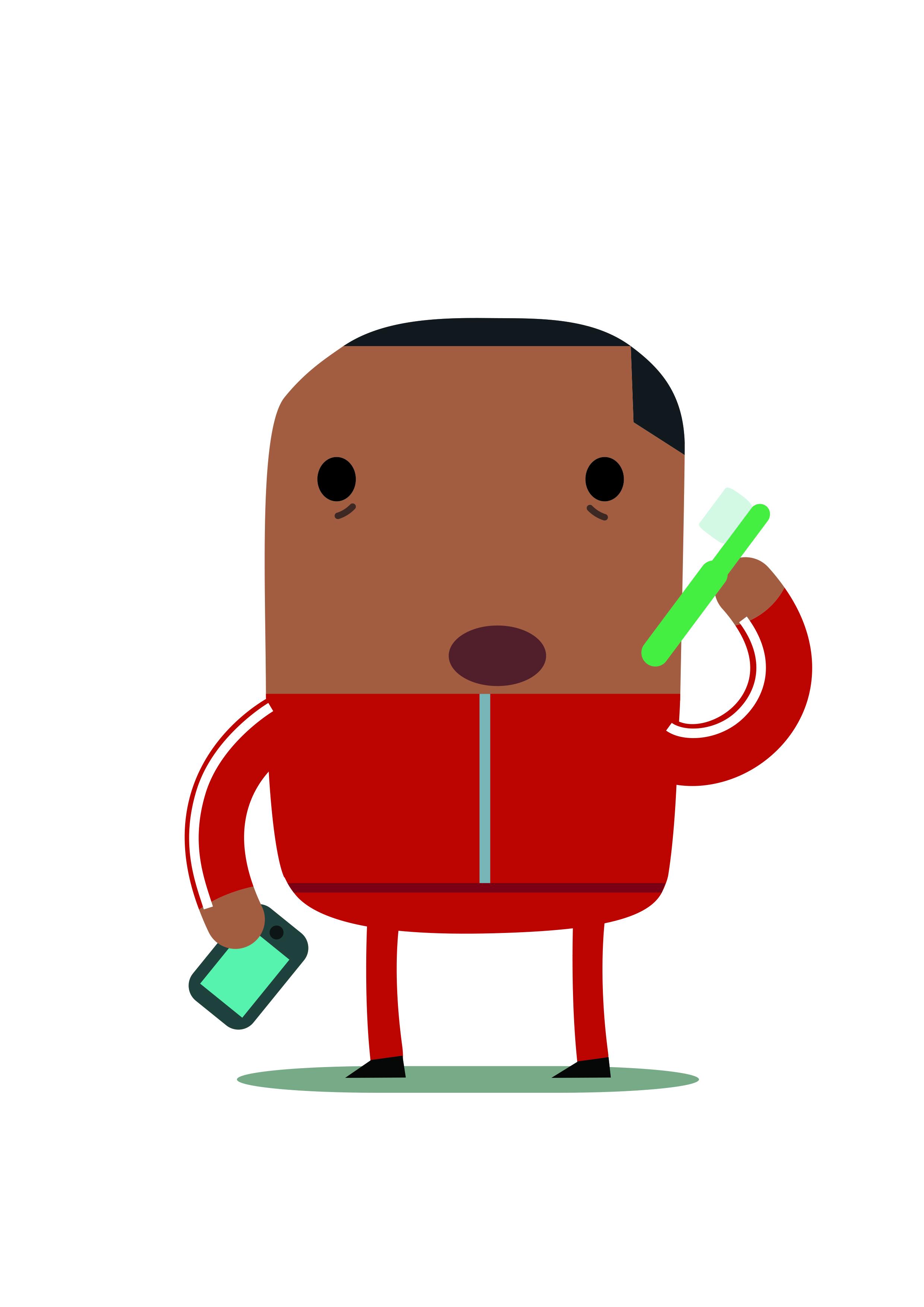 Illustratie van man in trainingspak en met smartphone en pen