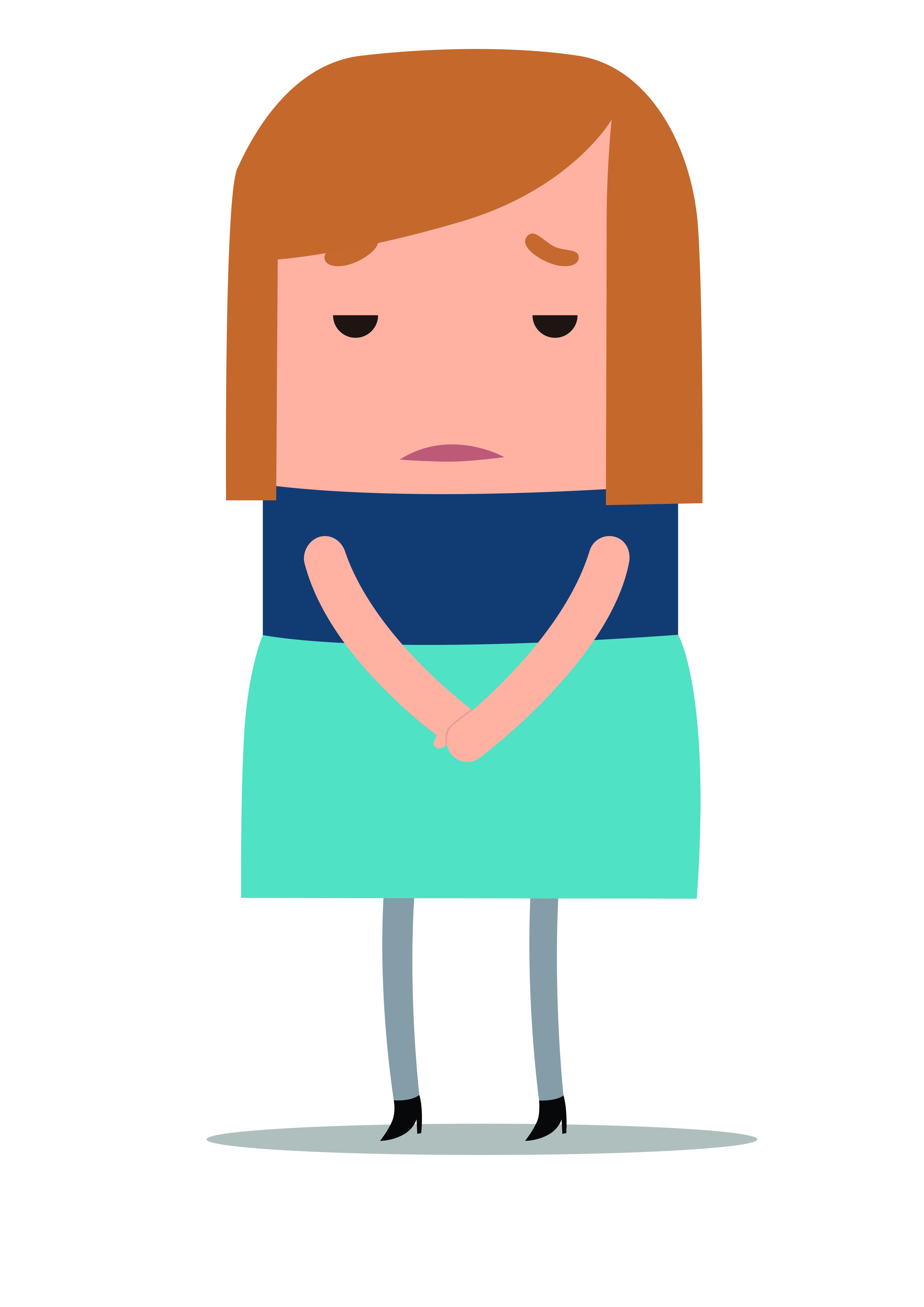 Illustratie van verdrietig kijkende vrouw