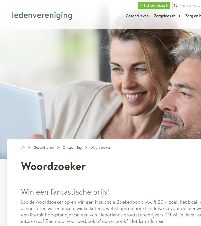 Woordzoeker website ledenvereniging