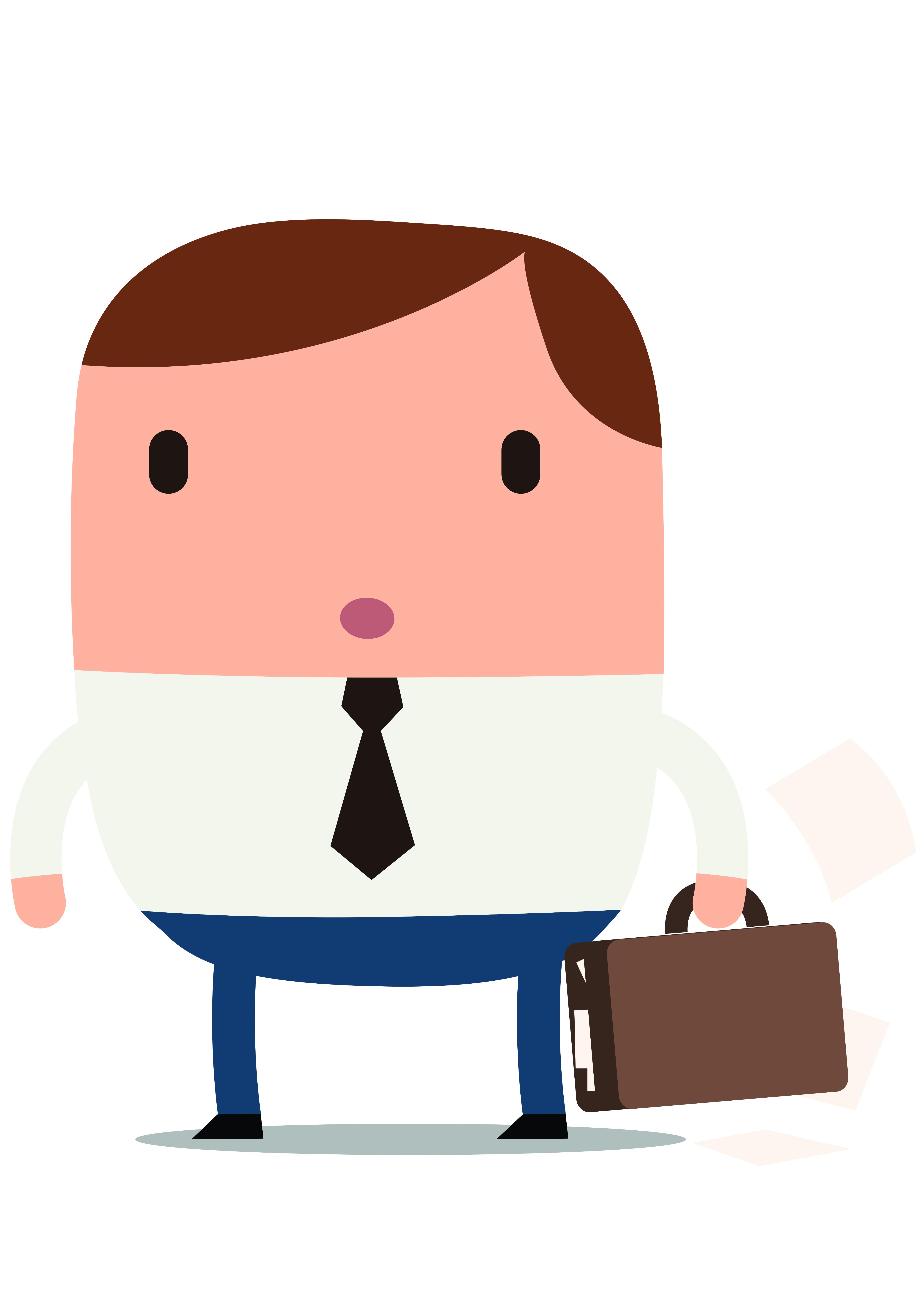 Illustratie van man met wijnglas stropdas en aktentas