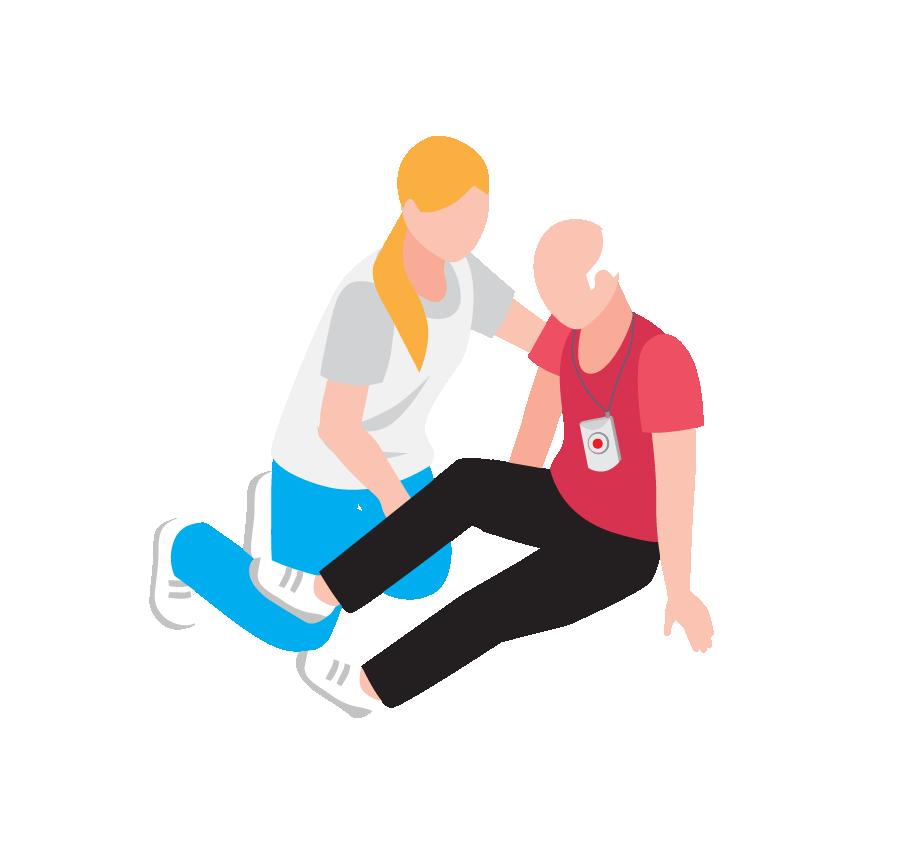 Hulpverlener helpt oude man