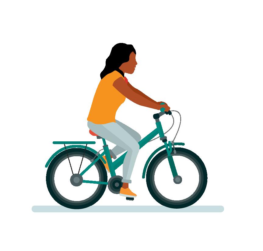 Dame op fiets
